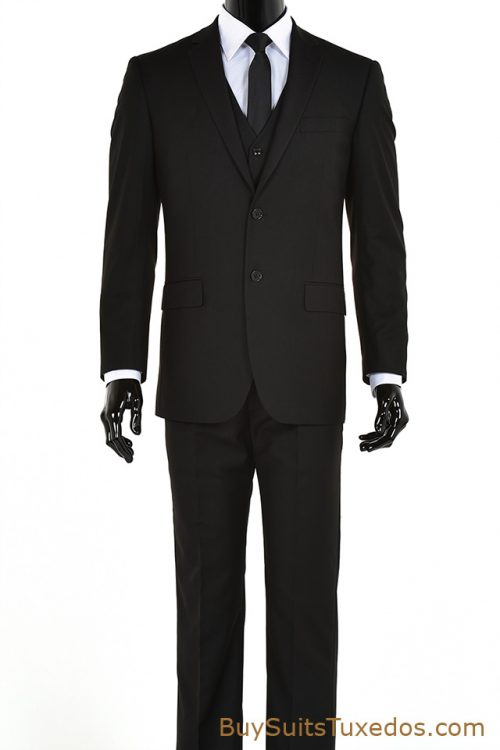 Men's three piece black suit