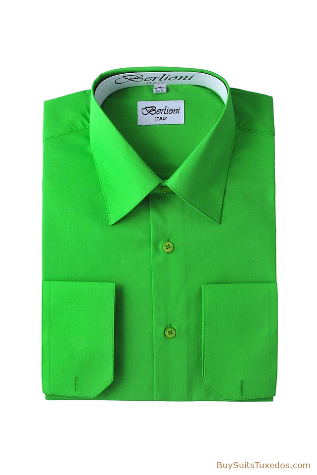 Men 39 S Designer French Convertible Cuff Shirt Apple Green