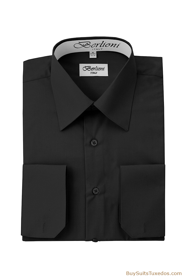 designer french convertible cuff shirt black king