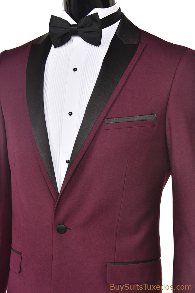 Burgundy with Black Peak Lapel Slim Fit Tuxedo