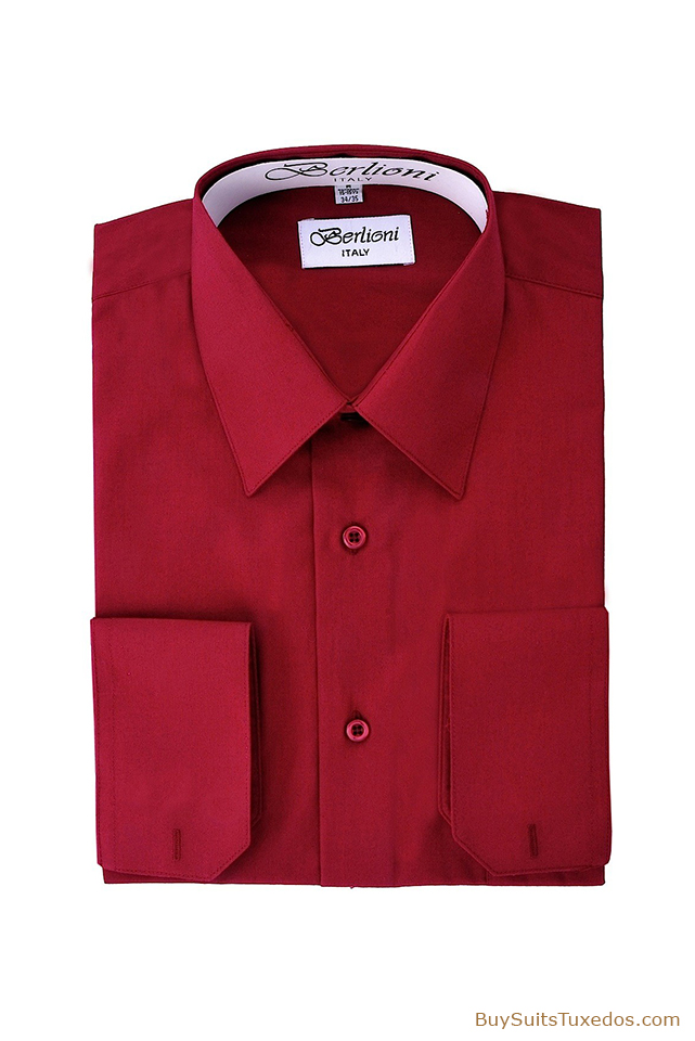 Burgundy French Convertible Cuff Men 39 S Designer Shirt