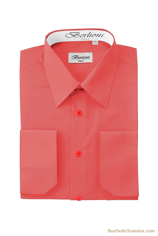 Designer French Convertible Cuff Shirt Coral King
