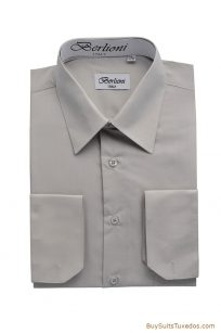 silver men's dress shirt