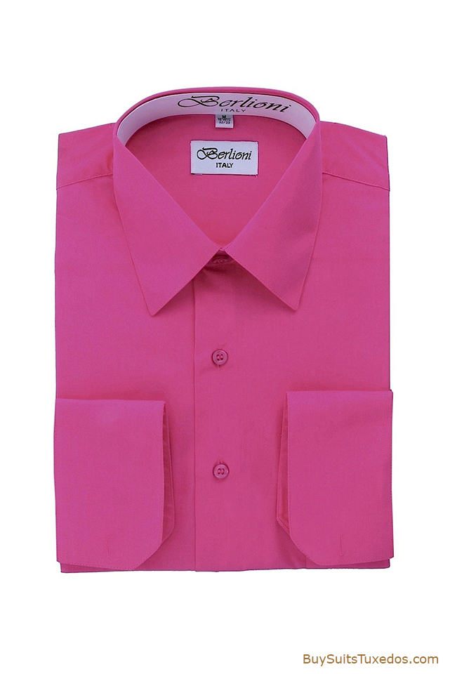 Men 39 S Fuchsia French Convertible Cuff Shirt King Formal Wear