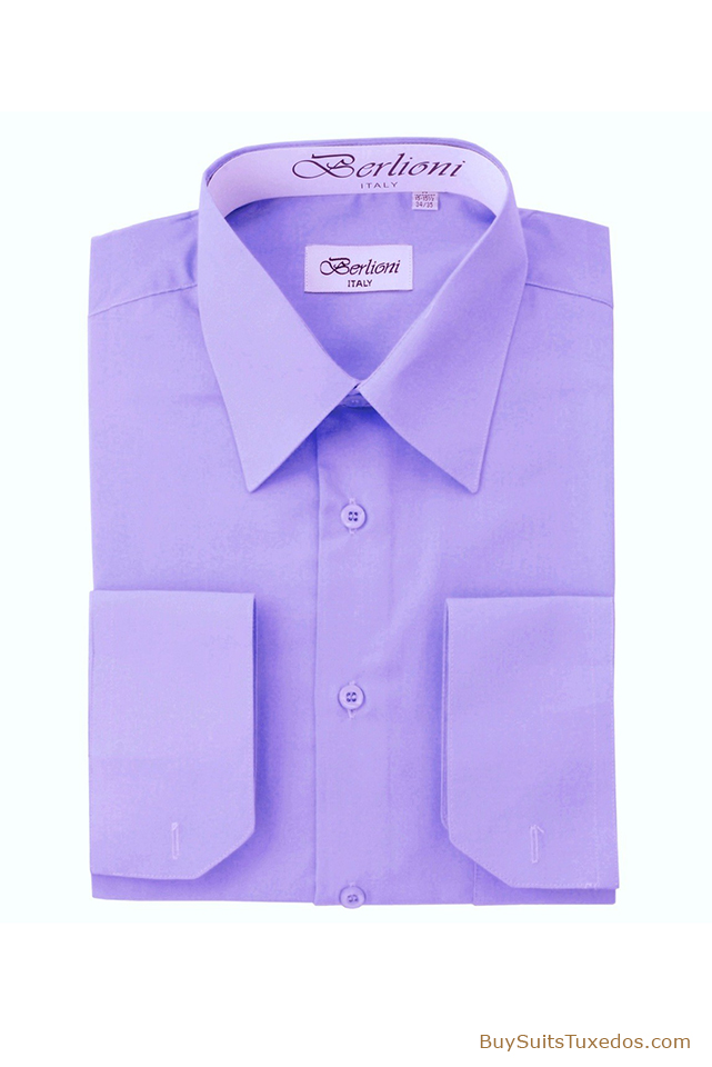 French Convertible Cuff Designer Shirt Lavender King