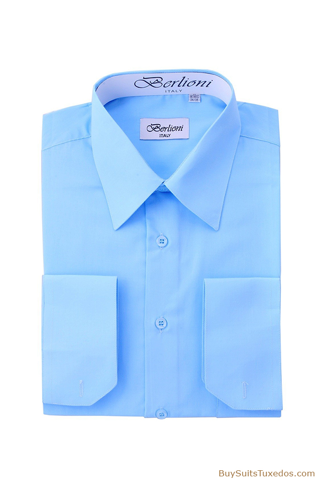 Light Blue French Convertible Cuff Men 39 S Dress Shirt
