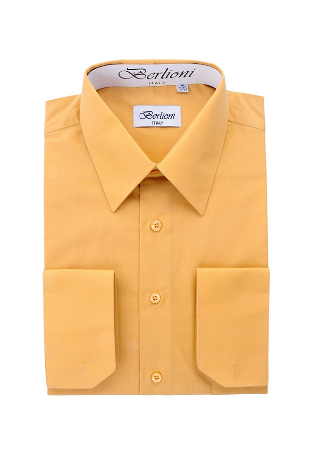 Men 39 S French Convertible Cuff Shirt Mustard King Formal