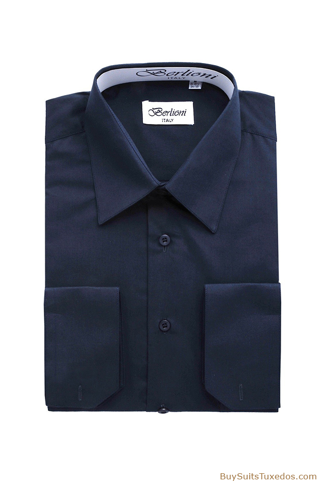 Navy French Convertible Cuff Shirt King Formal Wear