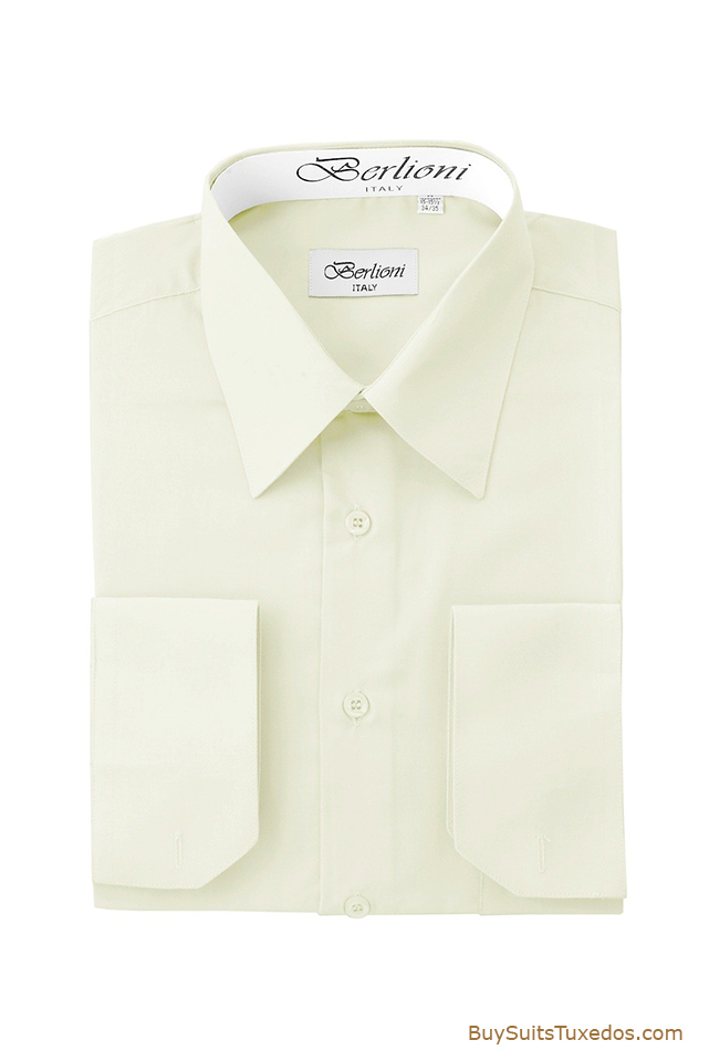 Shop men 39 s dress shirts off white french convertible cuff for Mens white french cuff shirt