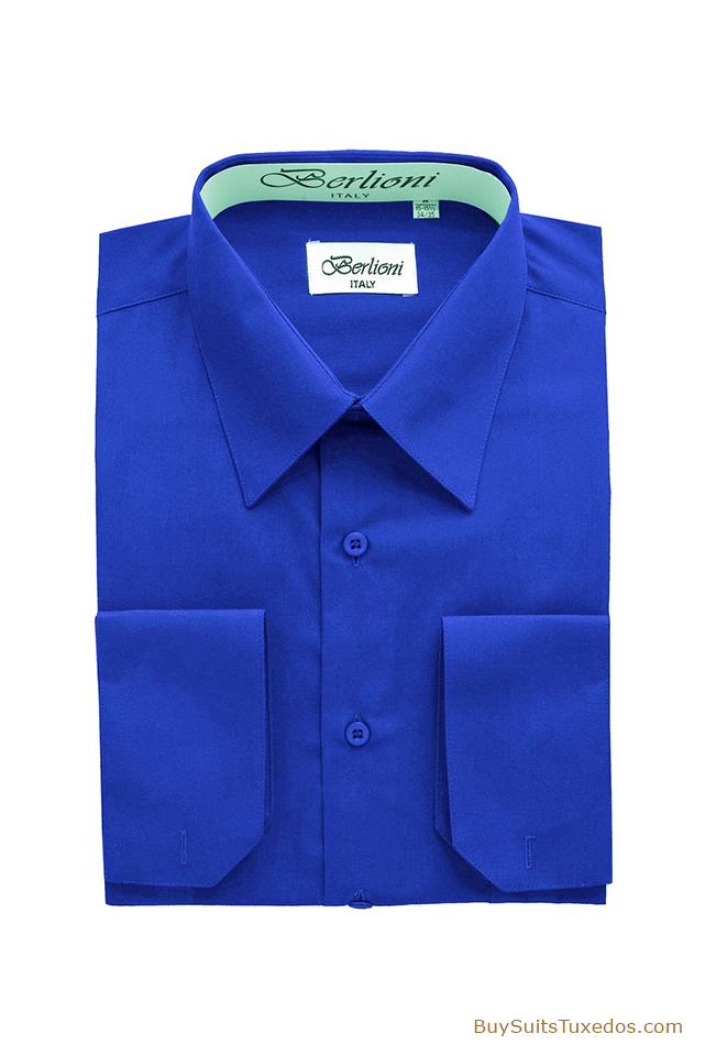 french convertible cuff shirt royal blue king formal wear