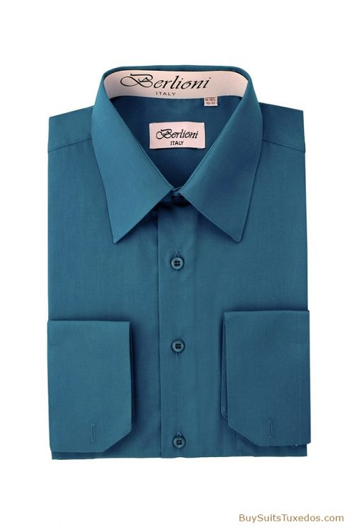 teal french cuff shirt, mens formal wear