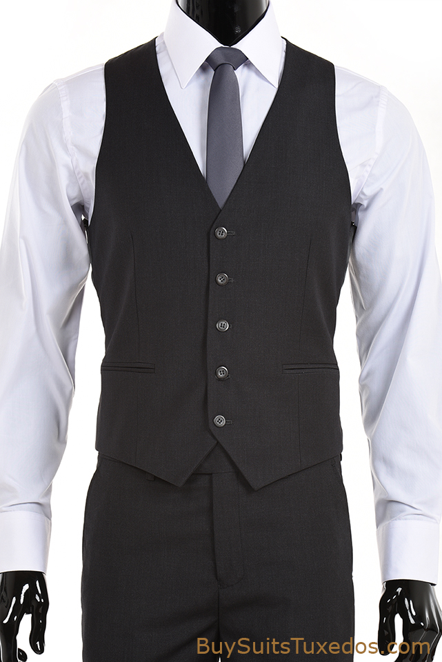 Men S Slim Fit Notch Label Two Piece Two Button Charcoal