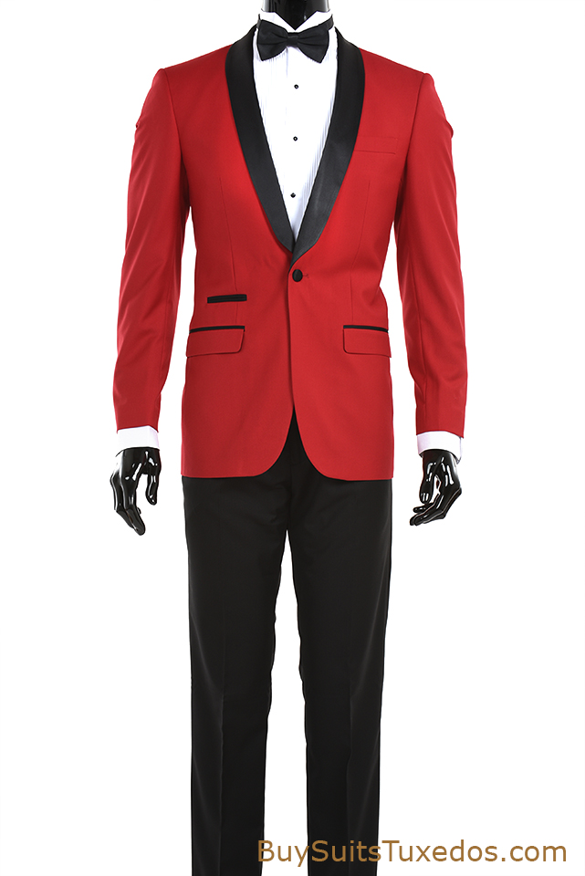 Red slim fit tuxedo with black shawl collar black pants for Black tuxedo shirt slim fit