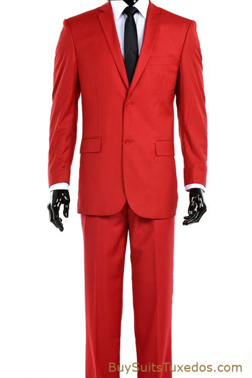 Red Modern Fit Suit