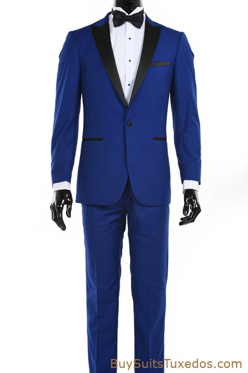 Royal Blue Tux Black Peak Lapel