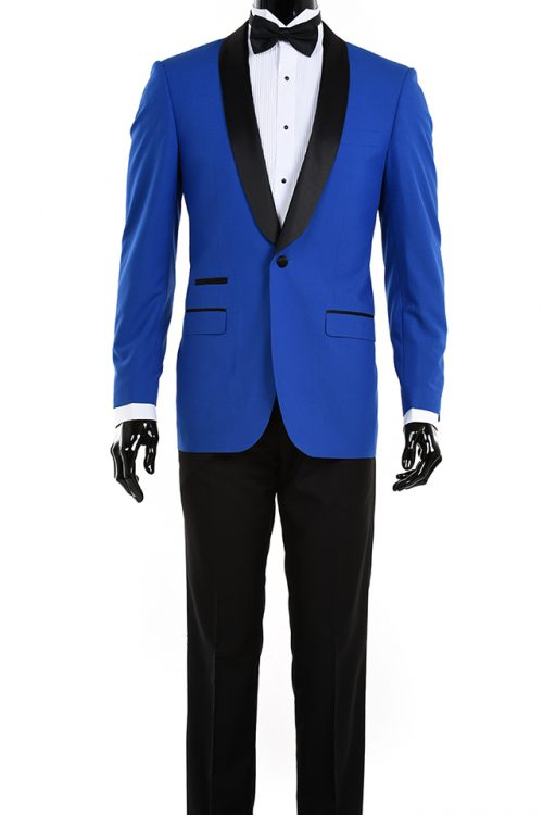 Royal Blue black shawl collar tuxedo