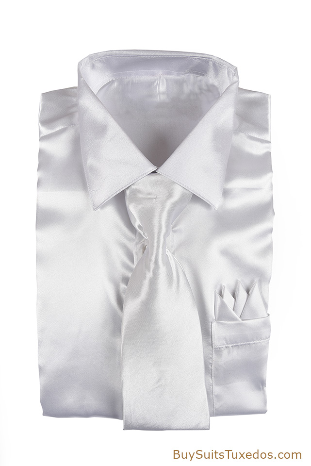 White Satin Shiny Shirt With Necktie And Handkerchief Set