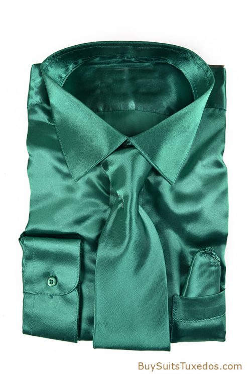 Emerald green satin shirt
