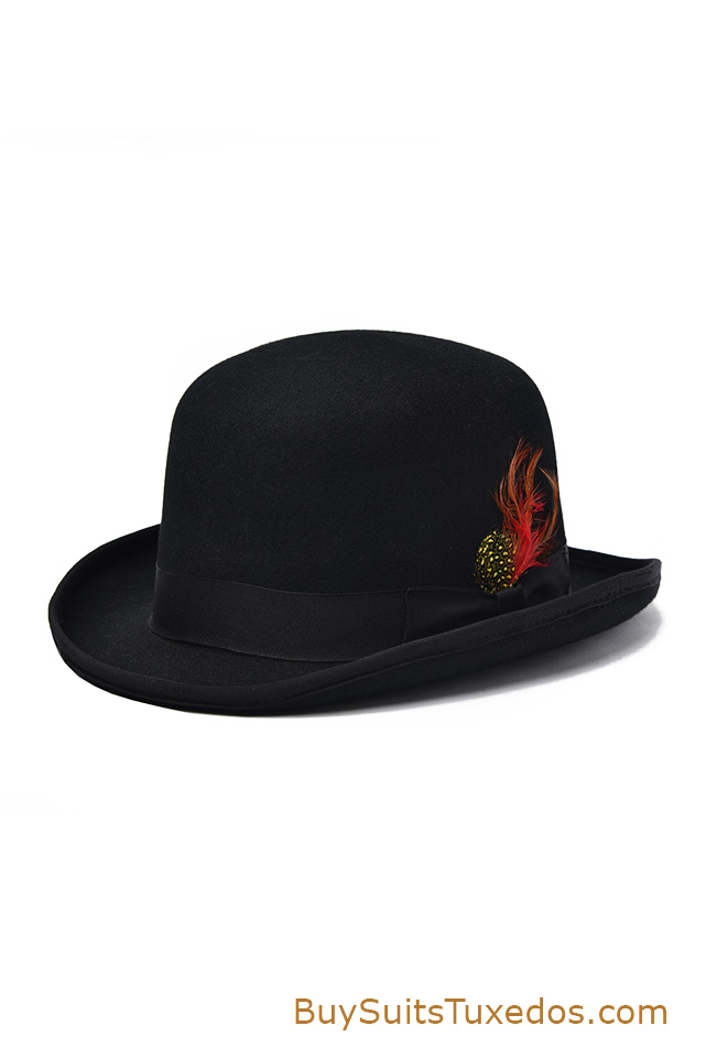 Premium 100 Wool Black Derby Bowler Hat King Formal Wear