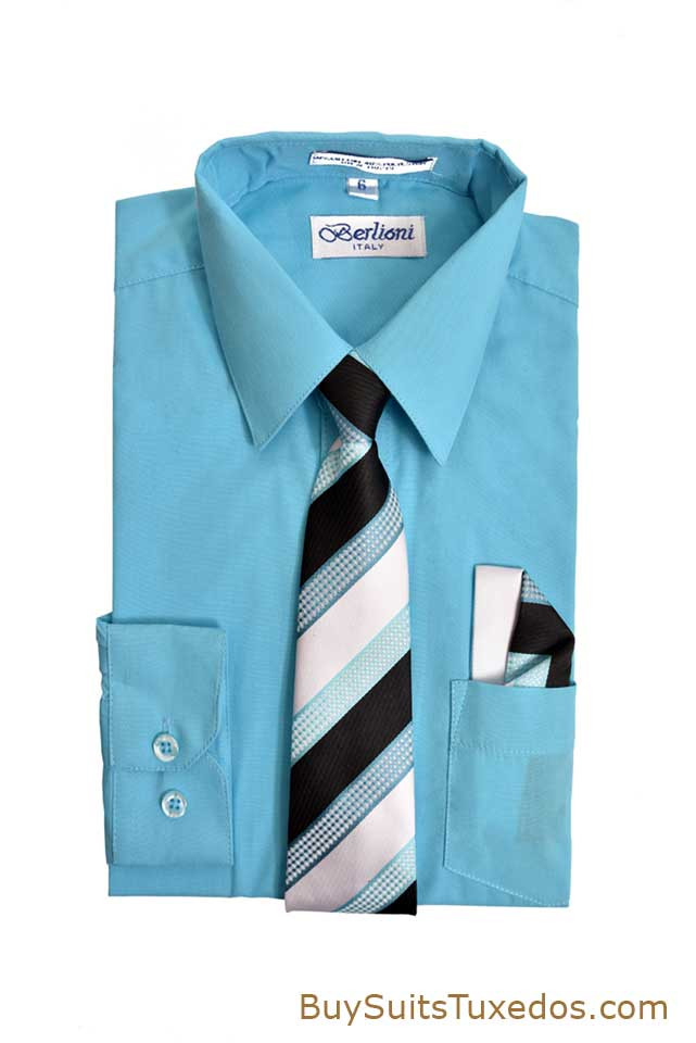 elegant blue aqua boy s dress shirt with necktie