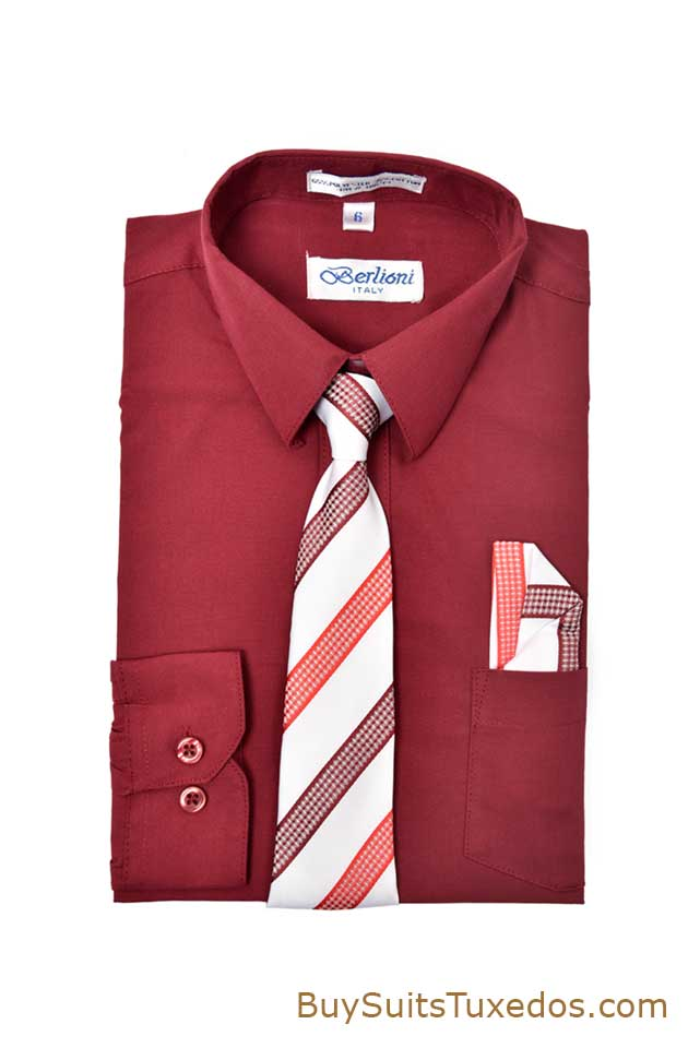 Sale on boys dress shirts with matching necktie and pocket for Matching ties with shirts