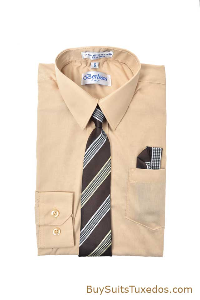 Elegant Light Khaki Boy S Dress Shirt With Necktie