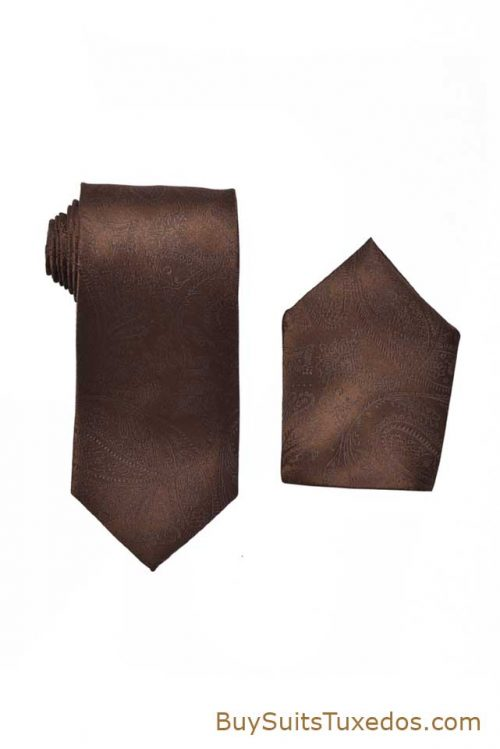brown tie and pocket square