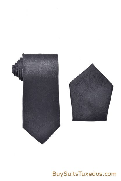 charcoal colored tie, charcoal paisley tie, charcoal paisley hanky, shop ties