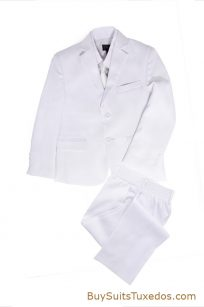 white 3 piece boys suit