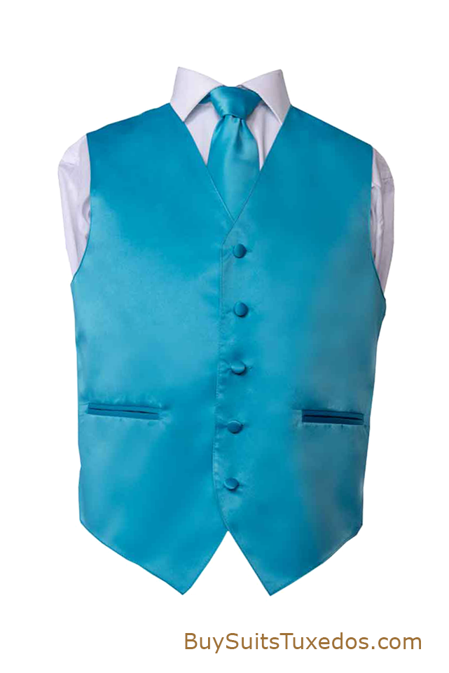 Turquoise Men S Premium Solid Vest Tie Amp Pocket Square