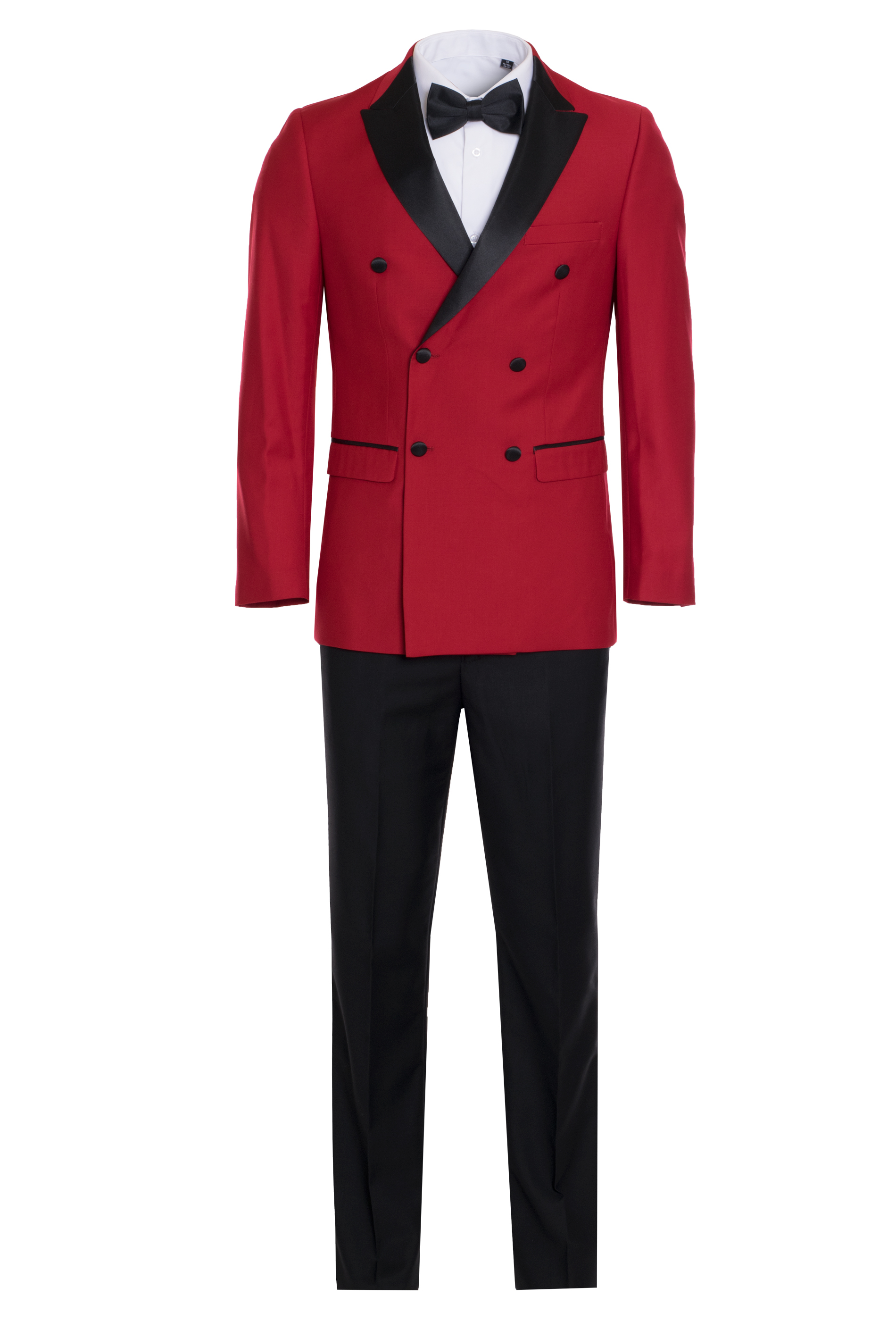 Men's Premium Red and Black Double Breasted Slim Fit Tuxedo - King Formal Wear