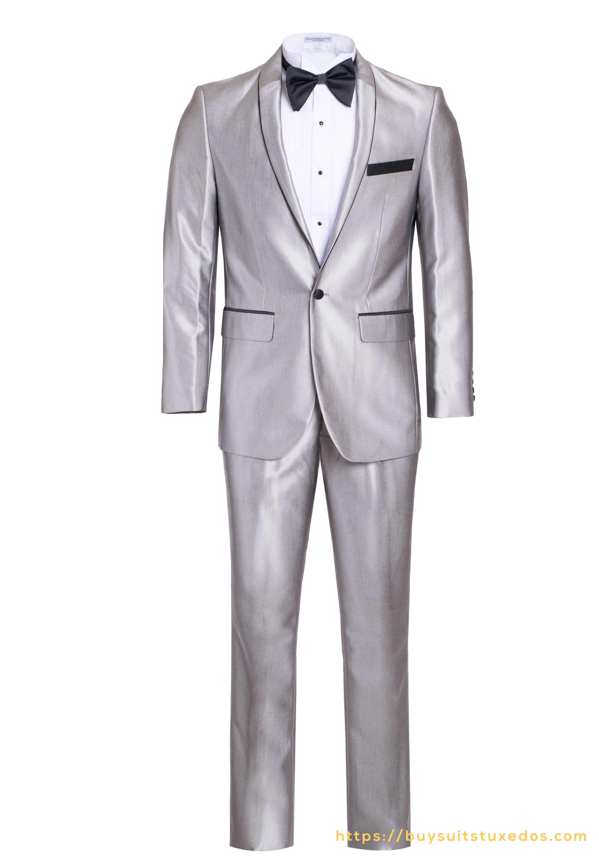 Elegant Men's Two Piece Slim Fit Shawl Tuxedo For All Occasions Includes A  Free Bow Tie color Silver With Black Trim Shiny - King Formal Wear